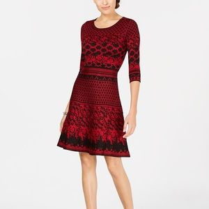 Taylor red and black sweater dress